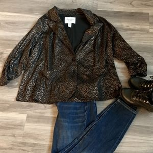 American Rag Metallic Leopard Print Blazer, XXL